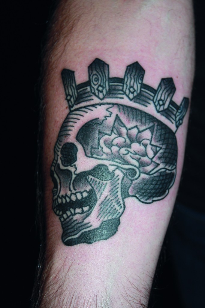 Skull and crown leg tattoo by Duncan X