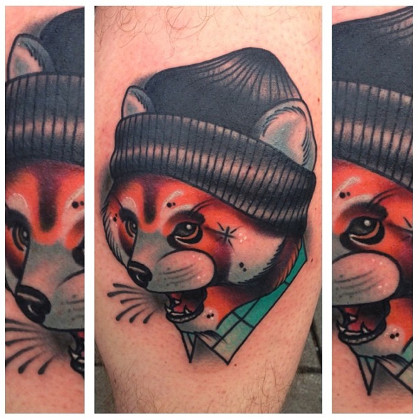 Fox tattoo by Mike Stockings