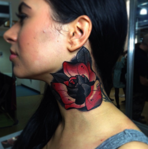 Rose neck tattoo by Mike Stockings