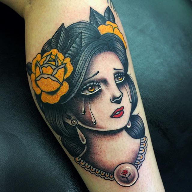 Girl head with roses tattoo by Danielle Roses