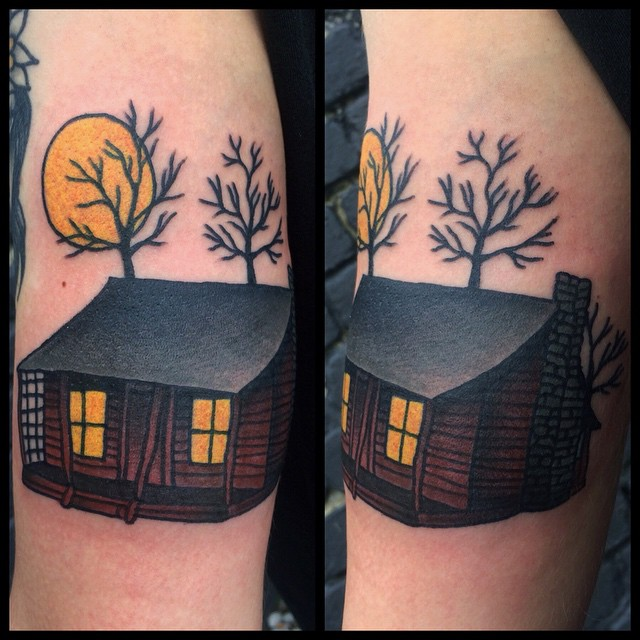 Cabin tattoo by Danielle Rose