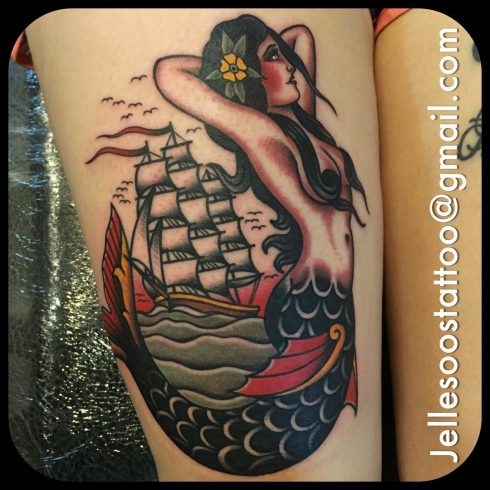 Jelle Soos mermaid tattoo