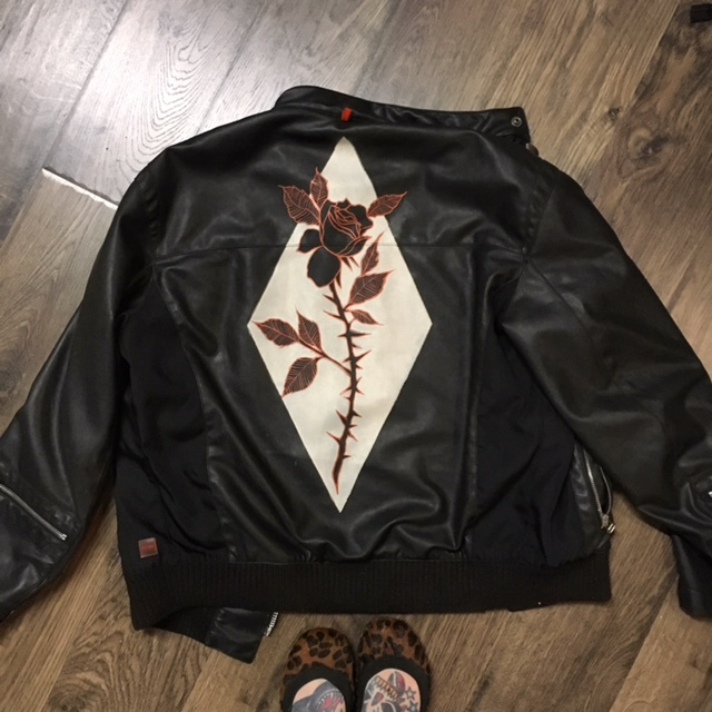 Custom leather jacket handpainted by Eva Jean