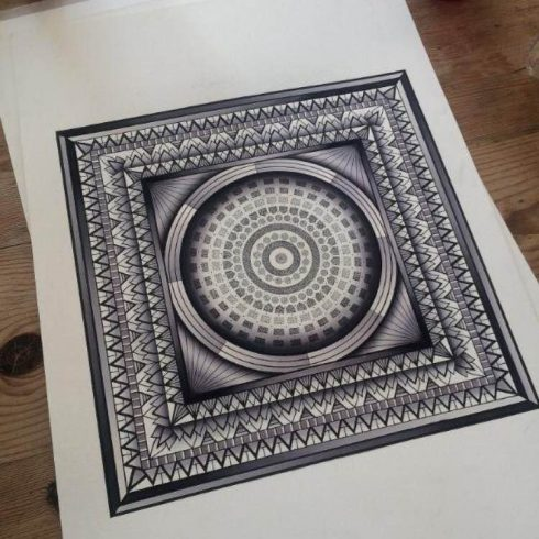 hand painted geometric mandala painting