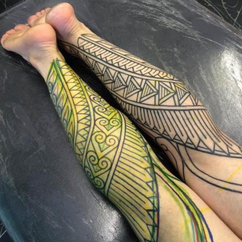 Leg tattoos by Kieran Williams
