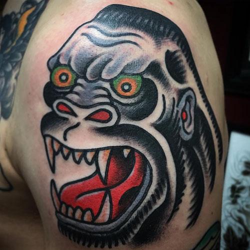 Gorilla tattoo by Chad Koeplinger