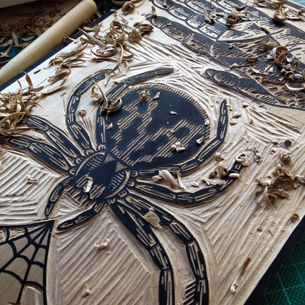 Lice for Life Spider woodblock print